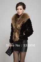 Free shipping Short design fur coat 2013 raccoon fur rabbit fur outerwear female autumn and winter medium-long short design