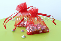 Free Shipping,100pcs/lot Red Organza Bags 7x9cm,Christams & Wedding Gift Bags,Jewlery Bags Gift packing Pouches