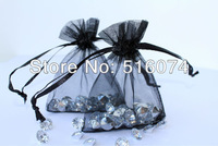 100pcs Black Drawable Organza Bags,Gift Bags,Jewelry Bags, 7x9cm,Free Shipping