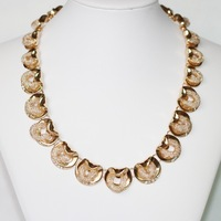 2013 New KC Gold Plated Chain Mesh Style With Clear Rhinestones Chockers Necklace For Women Wholesale Free Shipping
