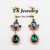 Fashion New Crystal Drop Earrings Women Emerald Color Acrylic Earrings Statement Jewelry Free Shipping>$10