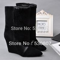 Fashion isabel marant horsehair genuine leather wedges boots scrub medium-leg sleeve pointed toe snow boots