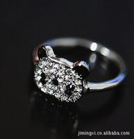(Minimum order $10) 2014 new J071 women fashion Korea jewelry cute Wniefull Crystal panda ring rings wholesale