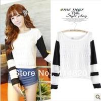 2013 Korean Sweet hook flower hollow Splice color sweater Knitwear women's outwear clothing