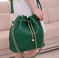 Free shipping 2013 fashion bucket vintage chain print pearl bags women messenger bag women handbag free shipping