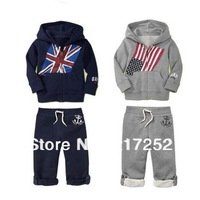 2013 spring childrens clothing set baby National flag hooded suits boy's Hooded sweater + pants boy's sport suits
