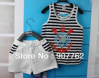 Children's T-shirt, the rudder short-sleeved shirt, 100% cotton boy for European children's clothes, the boy vest free shipping