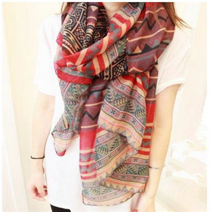Fashion Women Long Voile Tribal Aztec Scarf Shawl Muslim Hijab,Free Shipping(China (Mainland))