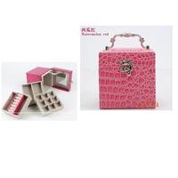 Pu crocodile pattern leather fashion princess multi-layer with mirror jewelry box