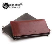 Clutch male genuine leather multifunctional day clutch bag large capacity purse zipper day clutch genuine leather