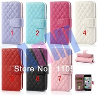 sheep leather case for iphone 5c,High quality  sheep hombus Leather Wallet Case Stand for iPhone 5c 100pcs/lot DHL  free