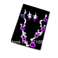 2013 New Free Shipping  Branded Fashion  Jewelry Set Earrings + Necklace  with Purple Rhinestone  Splendent & Noble Jewelry Set
