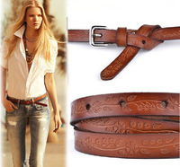 Cowhide women's thin belt tieclasps genuine leather all-match fashion carved strap Women casual l009