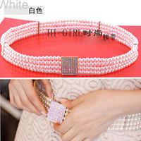 Y03 pearl cummerbund ladies fashion elastic waist beaded rhinestone metal belt belly chain