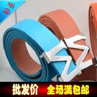 M letter casual strap general smooth buckle belt all-match cummerbund