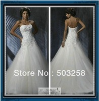 WG030 A Line Sweetheart Lace And Organza Bridal Wedding Gown 2013 include veil and petticoat