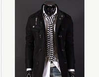 Men Slim Design Coat Jacket Stylish Woolen Jacket Double Pea Topcoat-auWK