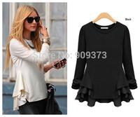 spring autumn 2014 new fashion chiffon ruffles beige black long sleeve plus size casual blusas t shirt women t-shirt  tops