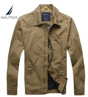 Autumn jacket nautica male outerwear stand collar 100% thin cotton jacket