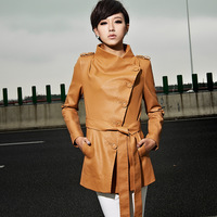 2013 New Fashion Autumn Winter Women'S Leather Clothing PU Trench Outerwear Overcoat Slim Waist Medium-Long Plus Big Size Female