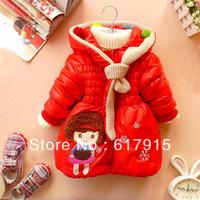 Hot free shipping 2013 new kids coat children suit girl coat hoody cartoon winter coat girl' outwear warm jacket