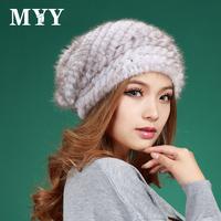 2014 london style  luxury mink knitted beret women's winter outdoor sweet cute ball cap
