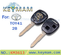 free shipping Hot sale transponder key shell (With Gold Logo) Toyota TOY41 2 button remote key shell