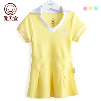 2013 female child sports skirt baby short-sleeve dress 100% cotton tennis ball dress 3133