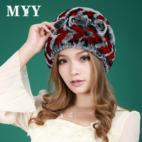 2013 women's genuine rex rabbit hair hat fur hat woven pattern warm hat for winter