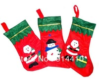 Free Shpping Fabric Red Christmas Socking Santa Snowman Sock Decorations Christmas Gifts Wholesale 20Pcs/Lot