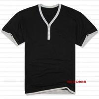 Plus size plus size oversized short-sleeve men's plus size clothing 8xl lycra cotton fashion 6 buckle V-neck short-sleeve