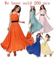 2013 Summer Women Maxi Long Chiffon Sun Beach Ball Gown Evening Party Dress