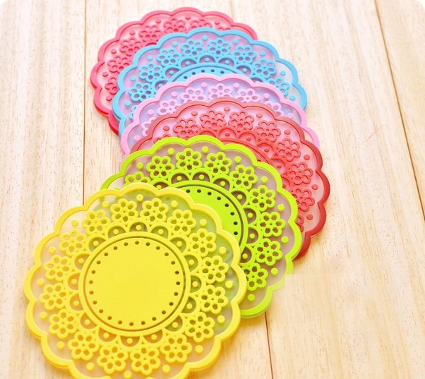 Wholesale candy color lace design cup mat silicone coasters 10pcs/lot(China (Mainland))