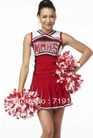 Ladies Costume Fancy Dress Up Red Cheerleader glee cheerleader cheering team dance  clothing  costume 2sets free shipping