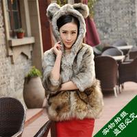 2013 bear fur coat fur coat medium-long outerwear hooded fur women's