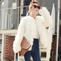 Elegant luxury fur coat overcoat fashion overcoat outerwear artificial wool women's