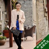 2013 faux women's faux fur wool outerwear popular fur coat medium-long