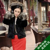 2013 female hooded fur outerwear fur coat fur coat medium-long