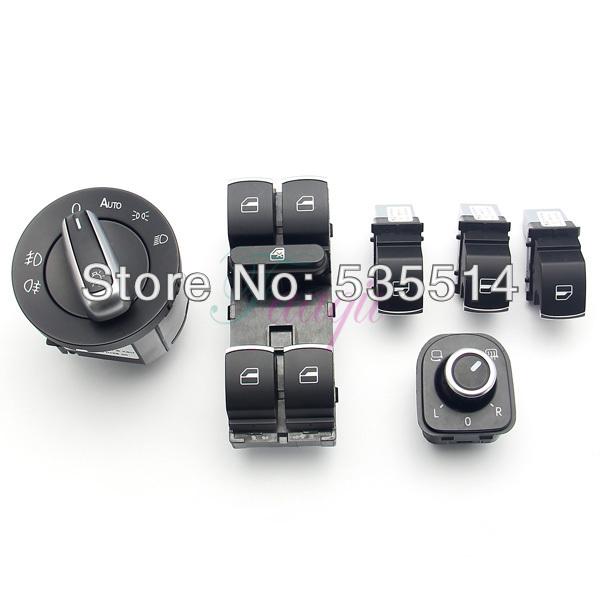 6Pcs Set Chrome Headlight/Mirror/Window Switch Control Fit for VW Jetta Golf Passat(China (Mainland))