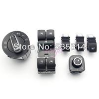 6Pcs Set Chrome Headlight/Mirror/Window Switch Control Fit for VW Jetta Golf Passat