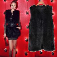 Faux vest outerwear vest faux fox fur black and white short medium-long