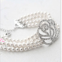 Cii wedding dress bridal bracelet full of hollow diamond accessories roses pearl bracelet