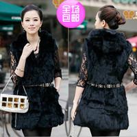 Fur coat medium-long rabbit fur cap vest short design female vest autumn and winter women