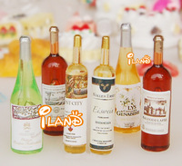iland 1/12 Dollhouse Miniature 6 Bottle of Wine Dinig Drink Red Wine Whisky  Free Shipping