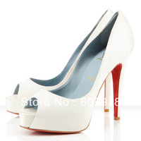 Free Shipping Brand Women Red Sole Shoes White Goatskin Platform High Heels Peep-toe Dress Shoes
