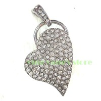 Genuine new crystal leaf heart usb 2.0 memory stick pen thumbdrive pendant 2GB - 32GB