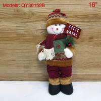 "16"" Christmas Standing Dcoration Dolls 16 inch Snowman Feliz Natal Stuffed Puppet Xmas Decor under Santa Tree Gifts Home Decor"