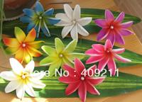 NEW ARRIVAL !  FREE SHIPPING +KL820  9CM   FOAM  LILY HAIR PICK W WHITE PEARL + 288PCS +8 MIXED COLORS  HAWAIIAN FOAM FLOWER