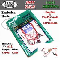 Free shipping!20PCS/10 Bags(one bag=2 pcs) per set,fishing sabiki,explosion hooks, hook size #12(1.95cm,1.2cm),E-hook-A04
