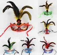 2013 New free shipping 5 chicken tail feather mask wholesale 6 color optional masquerade half face mask pheasant feather mask